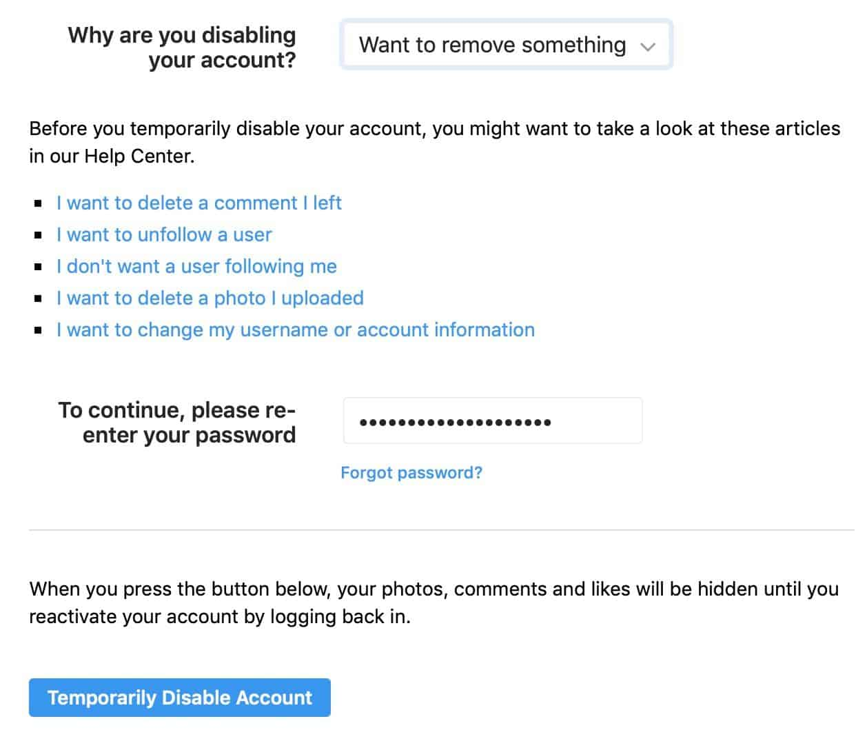 how to delete instagram account