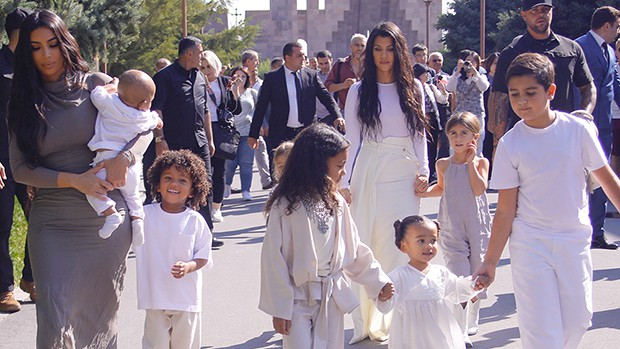 Kim and Kourtney Kardashian Dress Kids perfect matching White Outfits For BaptismIn Armenia