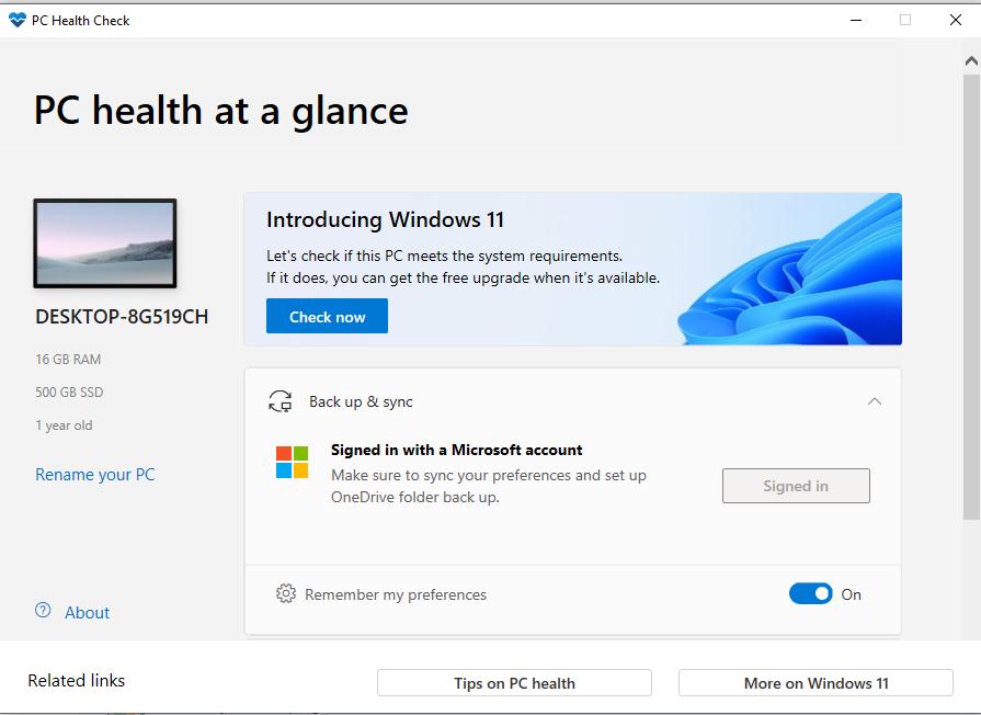 PC Health Check software